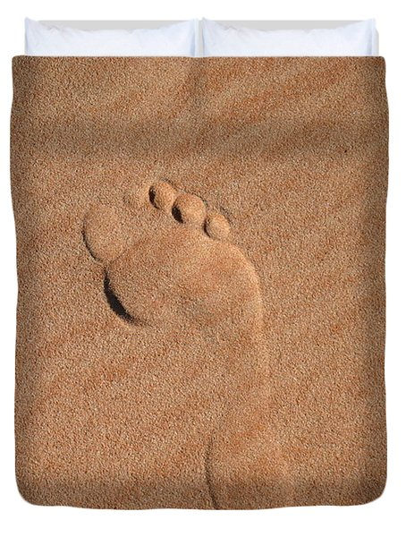 Footprint In The Sand Duvet Cover