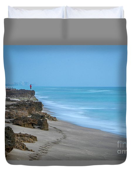 Duvet Cover featuring the photograph Footprints And Rocks by Tom Claud