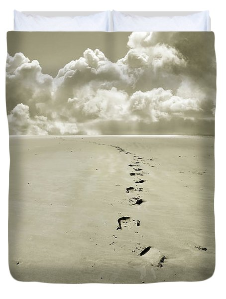 Footprints In Sand Duvet Cover by Mal Bray
