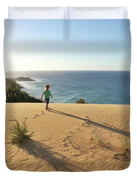 Footprints In The Sand Dunes Duvet Cover