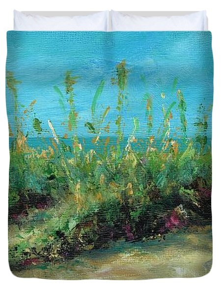 Footprints In The Sand Duvet Cover by Frances Marino