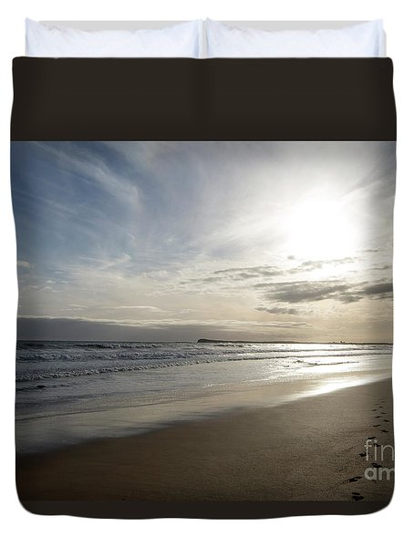 Duvet Cover featuring the photograph Footprints In The Sand by Linda Lees