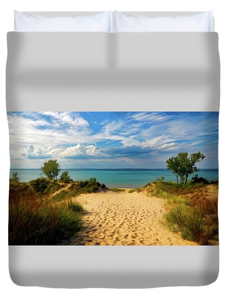 Footprints In The Sand P D P Duvet Cover by David Dehner