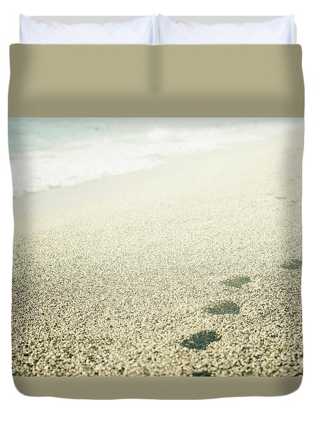 Footprints On The Beach Duvet Cover