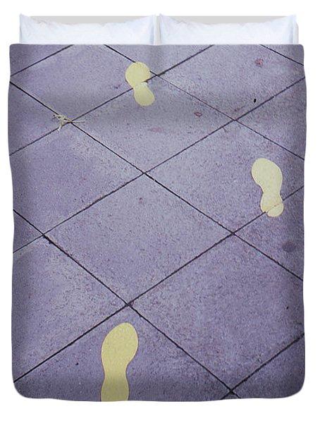Footsteps On The Street Duvet Cover