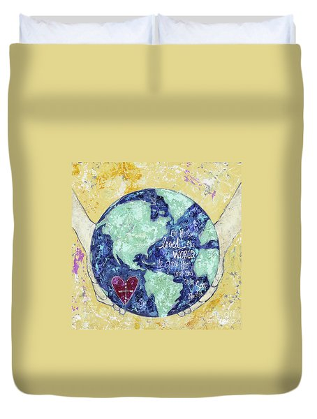 For He So Loved The World Duvet Cover by Kirsten Reed