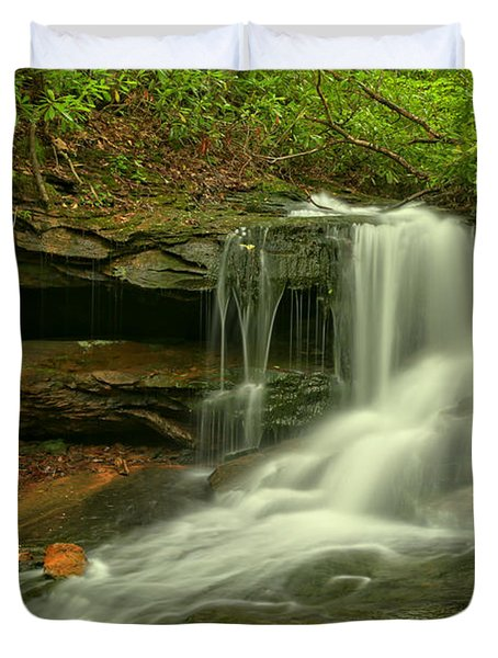 Forbes State Forest Cole Run Cave Falls Duvet Cover