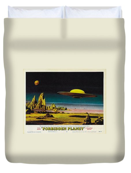 Forbidden Planet In Cinemascope Retro Classic Movie Poster Detailing Flying Saucer Duvet Cover