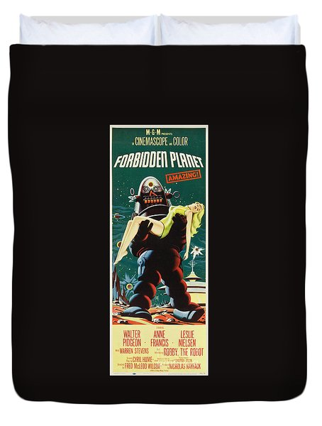 Forbidden Planet In Cinemascope Retro Classic Movie Poster Portraite Duvet Cover by R Muirhead Art