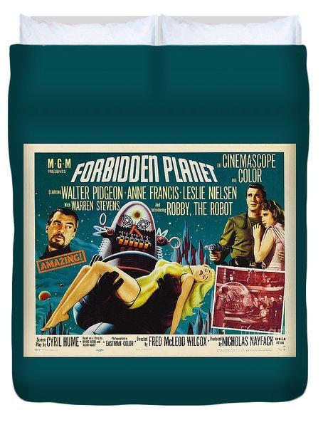 Forbidden Planet In Cinemascope Retro Classic Movie Poster Duvet Cover