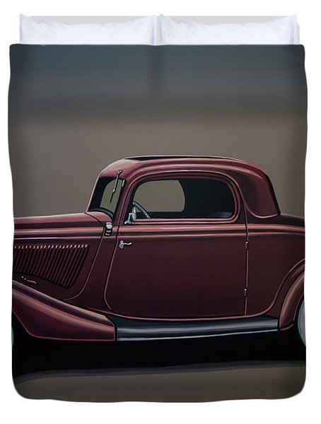 Ford 3 Window Coupe 1933 Painting Duvet Cover