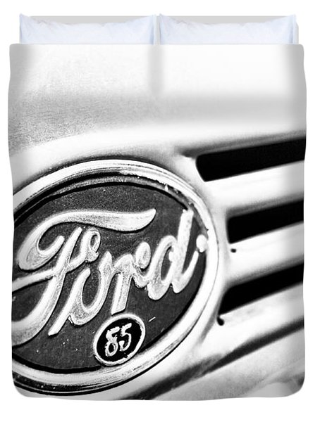 Duvet Cover featuring the photograph Ford 85 In Black And White by Caitlyn Grasso