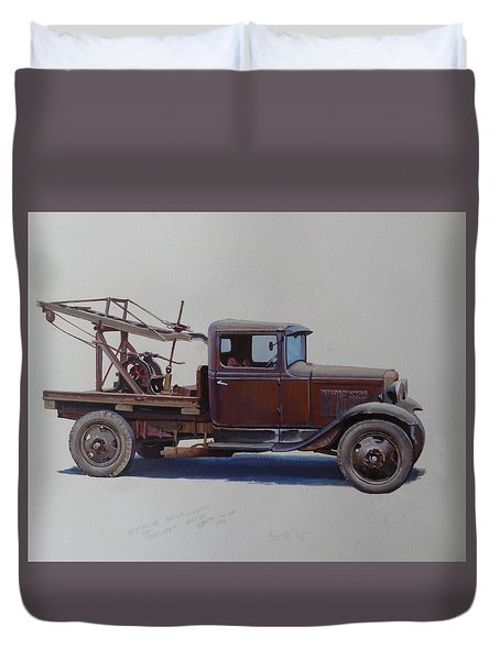 Duvet Cover featuring the painting Ford A Type Wrecker. by Mike  Jeffries