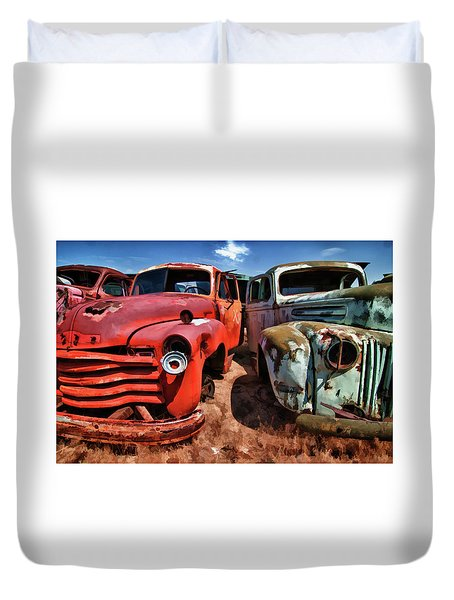 Ford And Chevy Standoff Duvet Cover