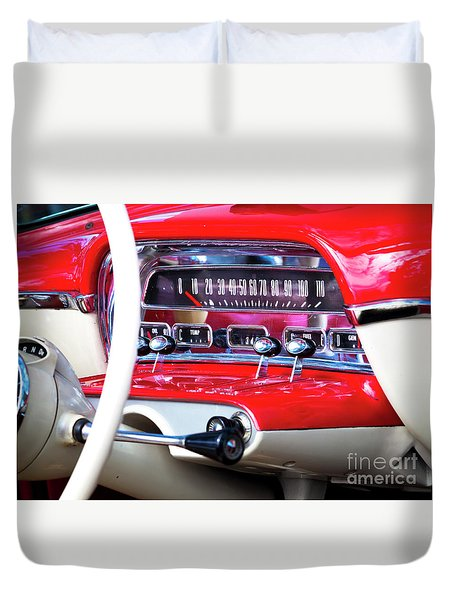 Duvet Cover featuring the photograph Ford Dash by Chris Dutton