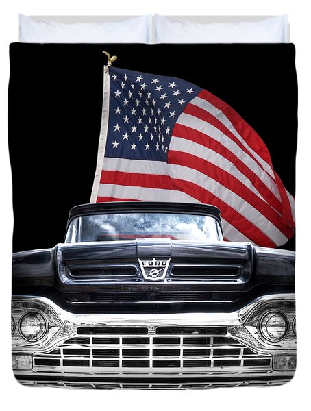 Ford F100 With U.s.flag On Black Duvet Cover