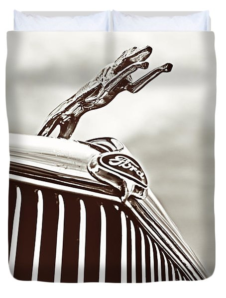 Duvet Cover featuring the photograph Ford Greyhound by Caitlyn Grasso