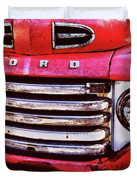 Ford Grille Duvet Cover by Michael Thomas