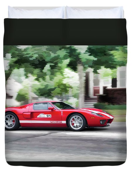 Duvet Cover featuring the photograph Ford Gt Entering Lake Mills by Joel Witmeyer