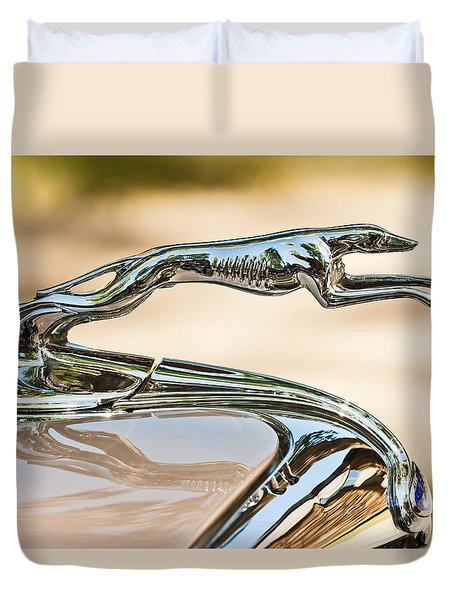 Ford Lincoln Greyhound Hood Ornament Duvet Cover by Jill Reger