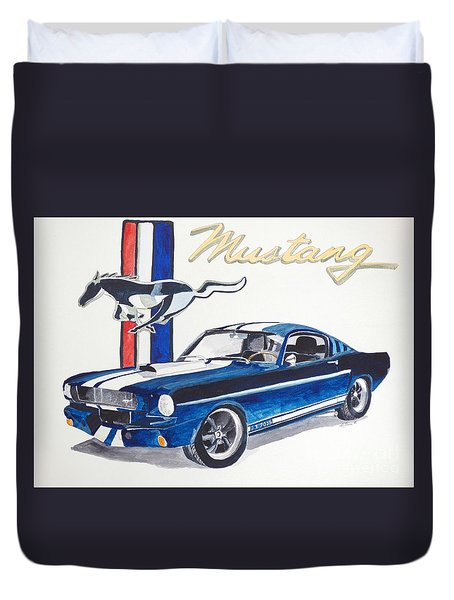 Duvet Cover featuring the painting Ford Mustang by Eva Ason