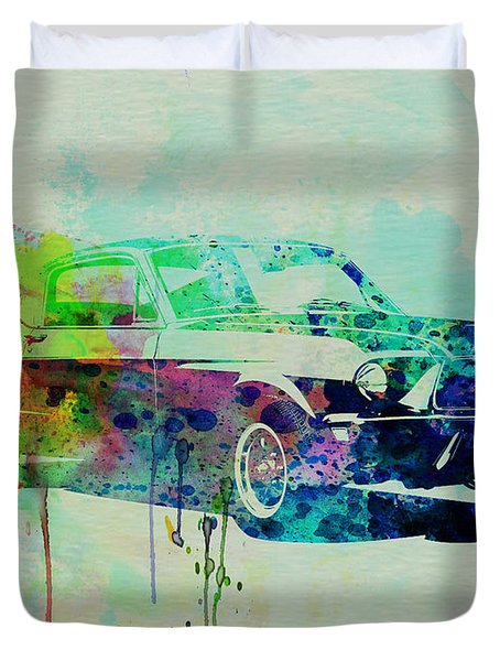 Ford Mustang Watercolor 2 Duvet Cover by Naxart Studio
