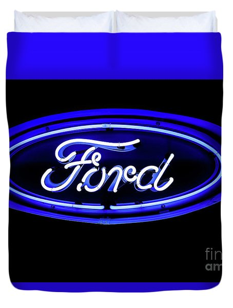 Ford Neon Sign Duvet Cover