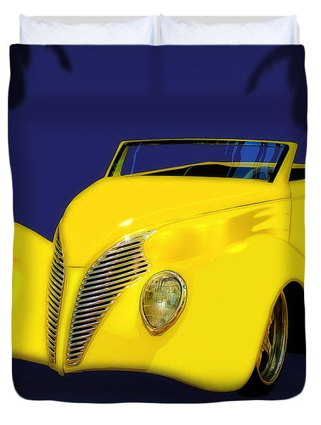 Ford Roadster 1937 In The Palms Duvet Cover