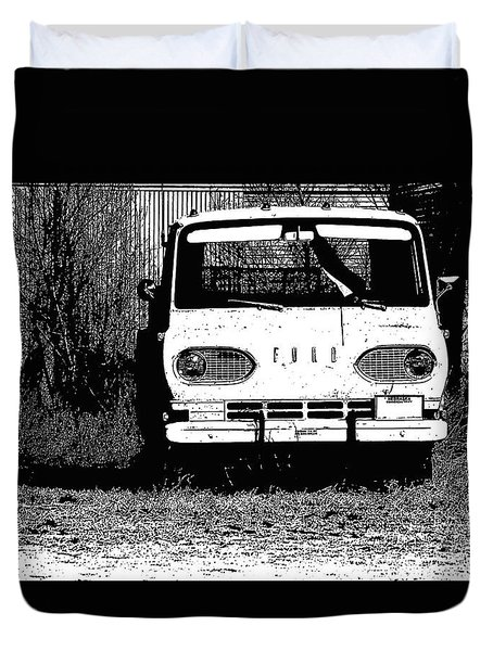 Ford Sketched In Black And White Duvet Cover by Renie Rutten