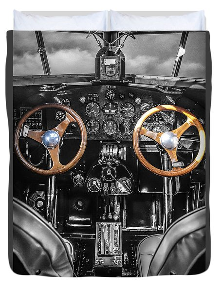 Ford Trimotor Cockpit Duvet Cover