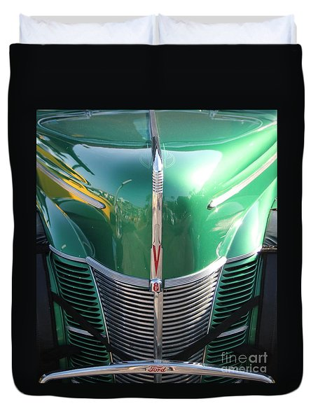 Duvet Cover featuring the photograph Ford V8 by Dodie Ulery
