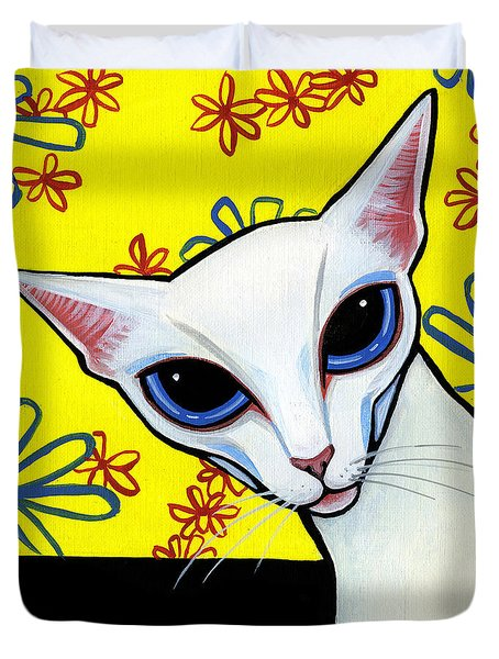 Foreign White Cat Duvet Cover by Leanne Wilkes