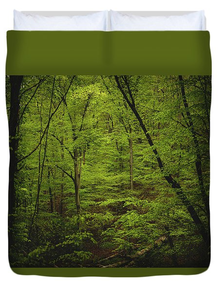 Duvet Cover featuring the photograph Forest Beckons by Shane Holsclaw