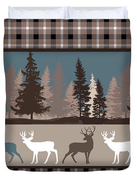 Forest Deer Lodge Plaid II Duvet Cover