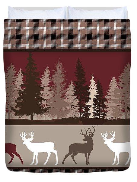 Forest Deer Lodge Plaid Duvet Cover