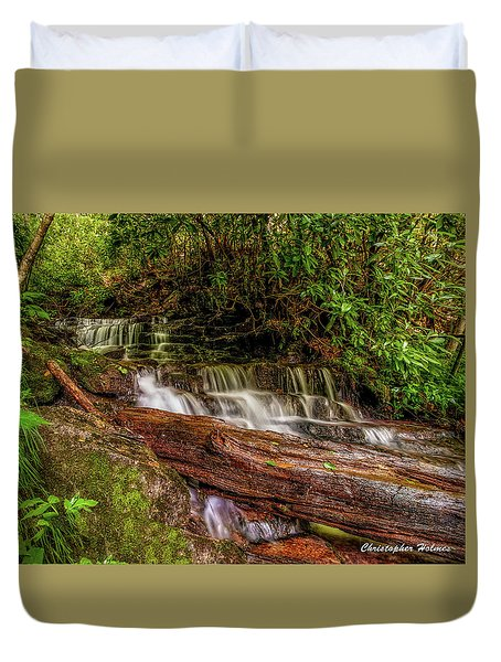 Duvet Cover featuring the photograph Forest Falls by Christopher Holmes