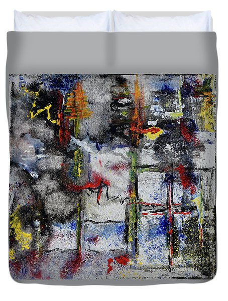 Duvet Cover featuring the painting Forest Fire by Karen Fleschler