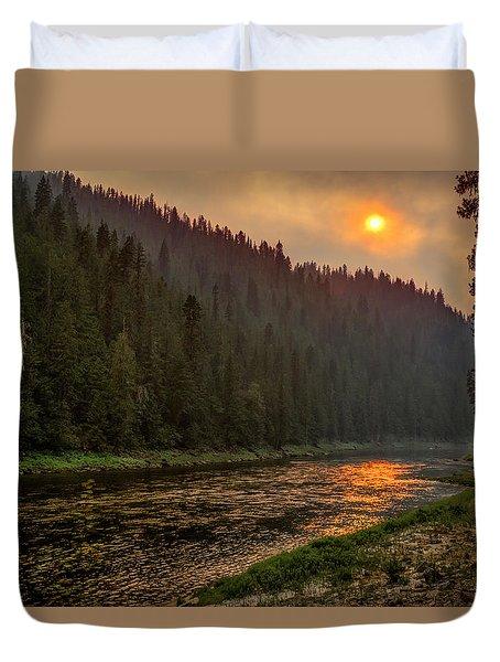 Forest Fire Sunset Duvet Cover
