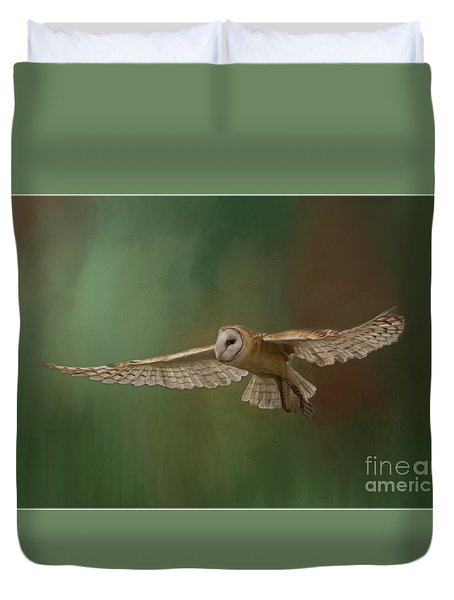 Duvet Cover featuring the photograph Forest Flight by Myrna Bradshaw