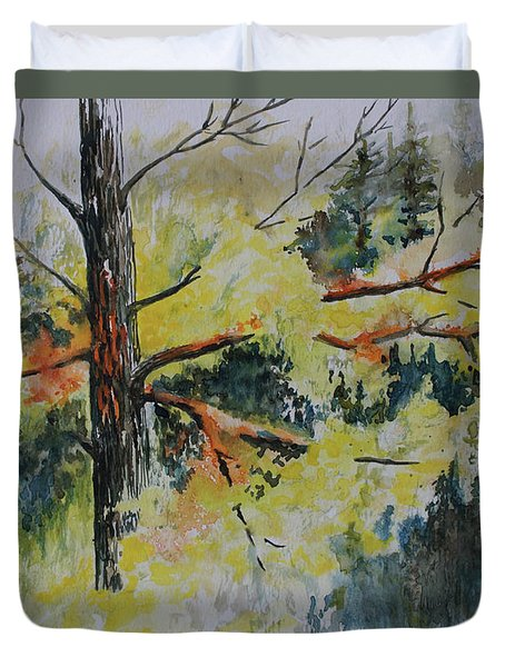 Duvet Cover featuring the painting Forest Giant by Joanne Smoley