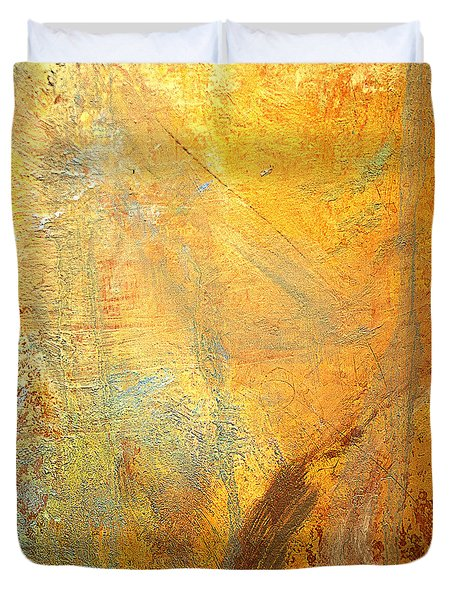 Duvet Cover featuring the mixed media Forest Gold by Michael Rock
