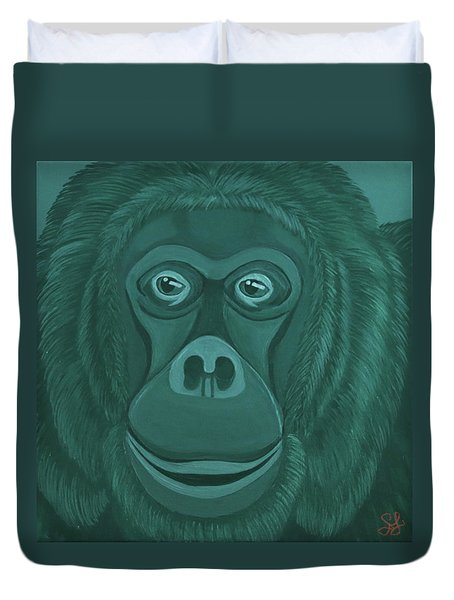 Forest Green Orangutan Duvet Cover