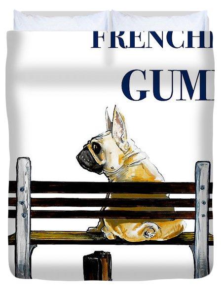 Forest Gump French Bulldog Caricature Art Print Duvet Cover