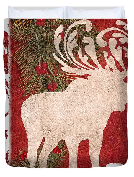 Forest Holiday Christmas Moose Duvet Cover
