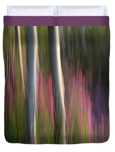 Forest Illusions- Aspen And Sweet Peas Duvet Cover