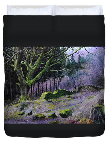Duvet Cover featuring the painting Forest In Wales by Harry Robertson