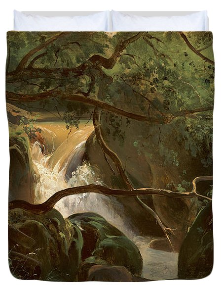 Forest Interior With A Waterfall Papigno Duvet Cover