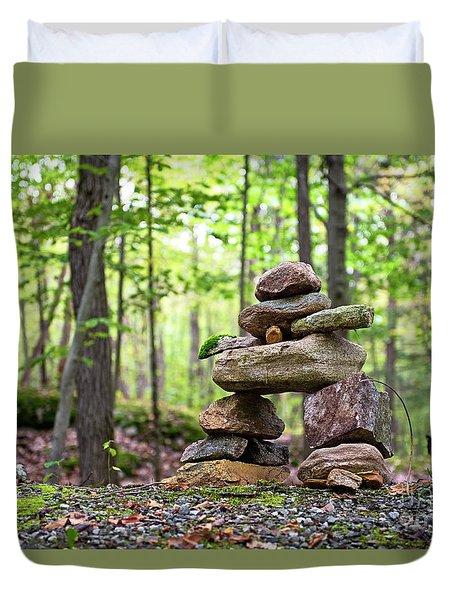 Forest Inukshuk Duvet Cover