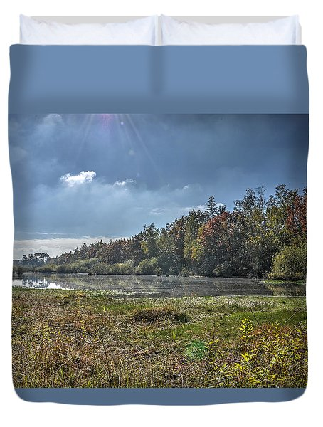 Forest Lake In Autumn Duvet Cover