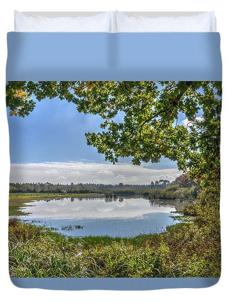 Forest Lake Through The Trees Duvet Cover